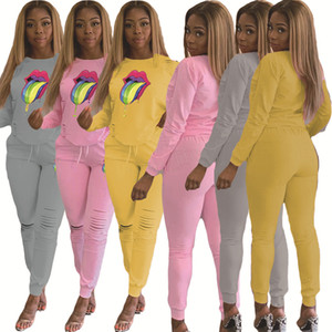 Wholesale Women Big Lip Tracksuit Hoodie Long Sleeve pullover Tops Holes Pants Trousers Two Pieces Outfits set Casual Sport Suit LJJA2763
