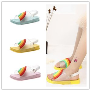 Wholesale Summer Kids Rainbow Candy Color Sandals Girls Leakage Toe Sandals With Buckle Strap Soft PU Sole Beach Slippers Bath Water Shoes New A51302