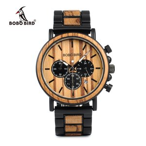 Bobo Bird P09 Wood And Stainless Steel Watches Mens Chronograph Wristwatches Luminous Hands Stop Watch Dropshipping GMX190711