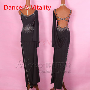 Latin Dance Dress Women Straps shoulder Left Opening Salsa Tango Rumba Flamengo Ballroom Latin Dance Competition Costumes