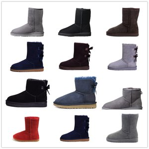 Wholesale 2019 Designer Women wellies desert Winter Snow Fashion Australia Classic Short bow boots Ankle Knee Bow girl MINI Bailey Boot SIZE 36-41