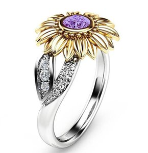 Wholesale Fashion Women Designer Rings k Sunflower Ring Bling Bling Rhinestone Ring Jewelry for Party Accessories Time Limited