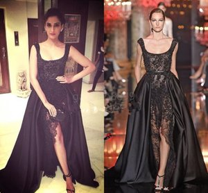 Wholesale Elie Saab Sonam Kapoor Occasion Prom Gowns Hot Sexy Black Lace Pearls Crystal over skirts Split Evening Dresses Dubai Saudi Arabic