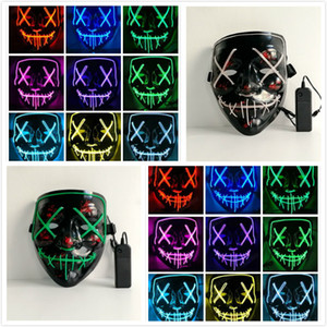 Wholesale Funny LED Glowing Mask Halloween Party Ghost Dance LED Mask Halloween Cosplay Glowing Party Masks Colors to Choose