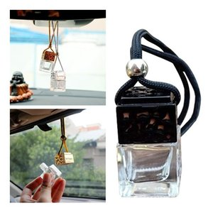 Wholesale Cube Perfume Bottle Car Hanging Perfume Rearview Ornament ML Air Freshener For Essential Oils Diffuser Fragrance Empty Glass Bottle