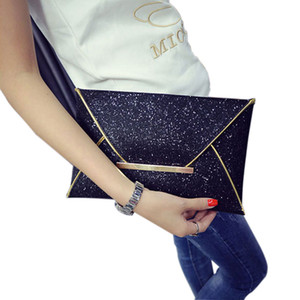 Wholesale New Arriva Simple Fashion Women Envelope Clutch Bag Solid Color Leather Glitter Purse Party Delicate Handbag Ladies Wedding Bags