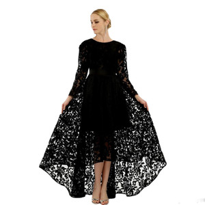 Black Lace High Front Low Back Fashion Evening Dresses 2019 Real Image Long Sleeves Crew Neck A Line Elegant Party Dress Hot Saletures