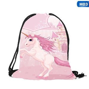 2018 New Cute Kid Baby Unicorn Pattern Sport Bags Swimming Bags Gym Pump Bag Sports School Drawstring Boy Girl Backpack Hot Sale #29052