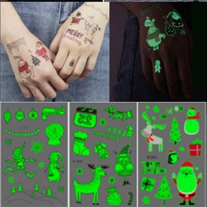 Wholesale Christmas luminous tattoo stickers Eco friendly waterproof Adult mm Cute cartoon animal toy sticker Body Art Temporary Sticker Party