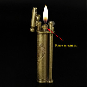 slim flint wheel kerosene copper lighter creative brass vintage trench Cigarette Lighter naked flame Refillable Old-fashioned nostalgic k053