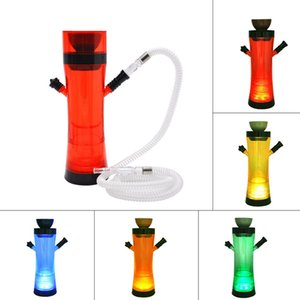 Wholesale Newest Colorful Acrylic LED Luminous Remote Control One Hose Hookah Shisha Smoking Pipe Innovative Design Portable Ceramic Bowl Hot Cake