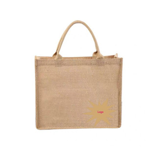 Wholesale jute totes resale online - Wholesales Custom Jute Shopping Tote Bags Female Jute Fabric Handbags Grocery Shopping Bags with Design Printed