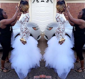 Wholesale 2019 African White Mermaid Lace Prom Dresses for Black Girls Long Sleeves Ruffles Tulle Floor Length Plus Size Evening Prom Gowns BA5080