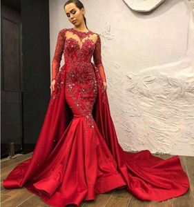 2019 Elegant Dark Red Satin Mermaid Evening Dresses Sheer Neck Prom Dresses Sweep Train Sexy Backless Women Event Formal Gowns on Sale