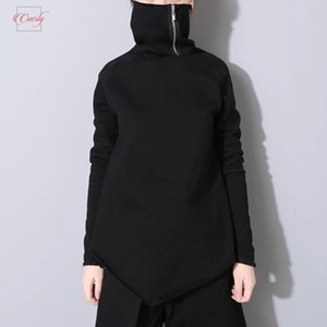 Wholesale 2019 New Spring Pullover Turtleneck Collar Full Sleeve Asymmetrical Loose Women Sweatshirt Jersey Fashion Tide Ob196 Drop Shipping