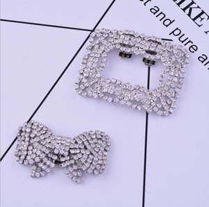 Wholesale 2020 cross border supply of new trend alloy shoe buckles female square bowknot diamond shoes flower shoes accessories