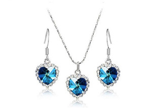 Wholesale platinum girls earrings for sale - Group buy Hot Sales K Platinum Plated Fashion Women Titanic Heart Jewelry Sets Austrian Crystal Pendant Necklaces Drop Earrings for Women
