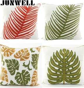 100% Cotton Canvas 3D effect Leaves Embroidery Throw Pillow Sofa Office Back Cushion Baby Room Decorative 45x45cm Square
