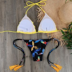 Wholesale Micro Bikini Biquini Sexy Swimwear Women Halter Push Up Brazilian Bikini Yellow Swimsuit Ruffle Bandage Bathing Suit