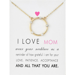 Wholesale Sun Halo Zircon Necklaces With Card I Love Mom Circle Alloy Pendant Necklace Mothers Day Gifts
