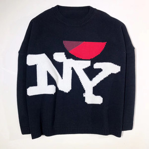 Wholesale 17FW Raf Simons Sweaters Letter Logo Knitted Shirt Multicolor Black Red White Blue Knitted Pullover Sweater Fashion Couple Sweater HFYTMY003