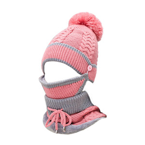 Wholesale 1Set Acrylic Fabric Winter Hats For Women Girl S Hat Knitted Beanies Cap Cashmere Collar Mask Set Women S Skullies Beanies