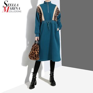 Wholesale 2019 Women Spring Clothing Leopard Part Patchwork Blue Black Dress Stand Neck Long Sleeve Ladies Casual Loose Dresses Style