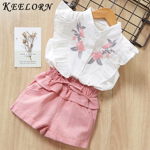 Wholesale Keelorn Girls Clothing Sets 2019 Summer Toddler Kids Clothes Short Sleeve baby T-shirt Pants 2Pcs Suit Children Roupa Menina T191007