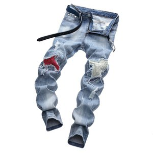 Wholesale Mens Jeans Stretch Motorcycle Pants Broken Holes Washed Jeans Trend Casual Trousers Mens Fashion Light Blue Large Size