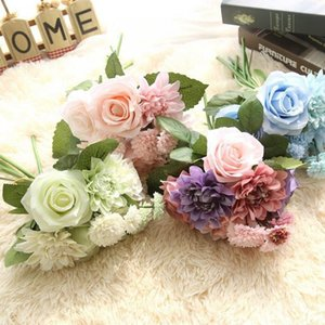 flores dahlias venda por atacado-Artificial Flowers Bouquet Seda Rose Dahlia Flowers Rose Wedding Flower Bride Bouquets Partido decorativa decoração do casamento Evento Cores DHC297