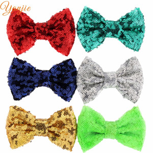 Wholesale pparel Accessories Headwear colors DHL Free Hot sale Kids Girl quot Sequins Glitter Bow without clips DIY Hair Accessories Fo