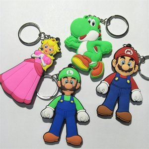 Wholesale Super Mario Bros Figures Toys PVC Keychain Game Cartoon Luigi Mario Yoshi Princess Mushroom PVC Keychain Dolls Key Bag Pendant Keychain