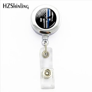Wholesale 2019 New Thin Blue Line ID Nurse Badge Holder Reel Retractable Badge Holders With Clip Glass Dome Office Badges