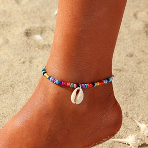 Wholesale Pearl Anklet Handmade Boho Beach Cute Ankle Bracelet Adjustable Wafer Layered Tur quoises Dangle Coins Foot Chain for Women