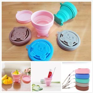 Wholesale 5 Colors Cute Portable Silicone Telescopic Cup Collapsible Retractable Folding Cup Candy Outdoor Camping Travel Tableware Foldable Cups