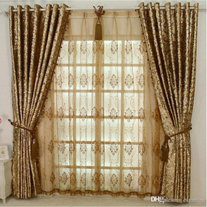 Europen Style Blackout LUXURY Palace Curtain Without Beads For Hotel Villa Living Room Custom-made Golden Window Treatments New