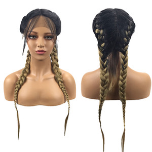 Wholesale Pigtail Wig Ombre Brown Double Braids Lace Front Wig with Baby Hair Darkest Roots Middle Parting Long Synthetic Wigs for African