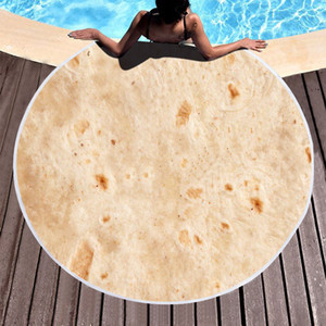 Wholesale rounds rugs resale online - Round Pancake Beach Towel Yoga Mat Polyester Blanket Mexican Roll Tablecloth Shawl Wrap Microfiber Bath Towel Picnic Rug Tapestry VT1779