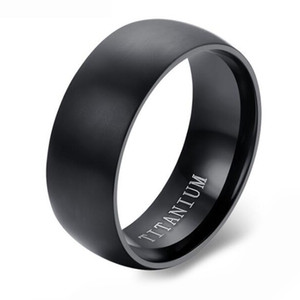 Round Surface Mens Classic Black Titanium Steel Plain Wedding Engagement Band Ring on Sale