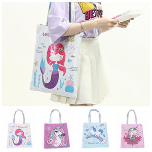 Wholesale 4styles Laser Unicorn Shoulder Bag Cartoon Sequin Tote Large Capacity Handbag Women Reversible Glitter Mermaid Sequins School Bag FFA2183