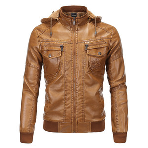 Wholesale Pure Color Brown Men's Leather Jacket with Velvet Warm Leather Coat Classic Imitation Sheepskin Even Cap Leather Coat S-3XL NY18