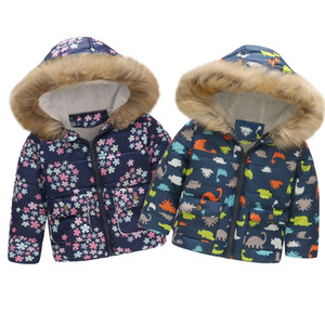 2019 Toddler Baby Girl Boy Cute Coat Floral Dinosaur Winter Warm Jacket Hooded Windproof Coat Fashion Children Kids Soft