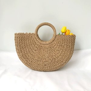 Wholesale Round moon shaped Straw Totes Bag Hand Woven Beach travel party Bag Large Bucket Summer Bags Women Natural Handbag C6564