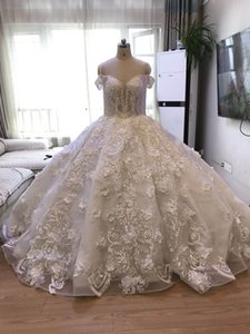Wholesale Real Photo Wonderfull Work 2019 Arabic High-end Wedding Dresses New Design Bridal Gown Instock Fashionable Wedding Dresses