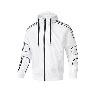 Wholesale Brand Mens Windbreaker Print Solid Black White Red Coats Active Sports Outerwear Zipper Hoodies L XL Fashion Casual Jacket CE98245