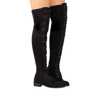 Wholesale Sexy Lace Up Over Knee Boots rome style Flats Shoes Woman suede long Boots Botas Winter Thigh High Boots