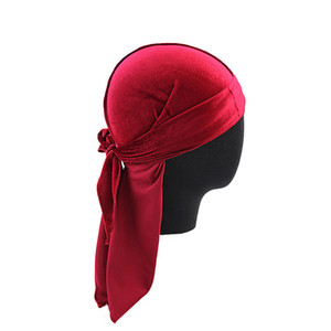 Fashion-Designer Durag Velvet Durags Hair Bonnets Skull Pirate Hat With Long Tail For Men And Women on Sale