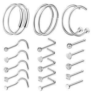 Wholesale nose hoops for sale - Group buy Diamond nose ring anti allergy Nasal Screws rose ball Piercing rings women fashion jewelry HOOP drop ship