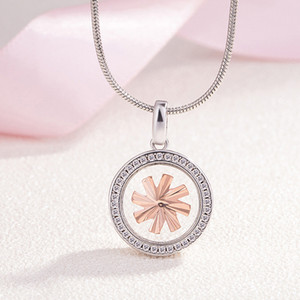 Wholesale Rotating Glass Ball Pendant Ladies Necklace Fashion Mirror Rotating Windmill Necklace Simple Micro Inlay Zircon Lucky Jewelry