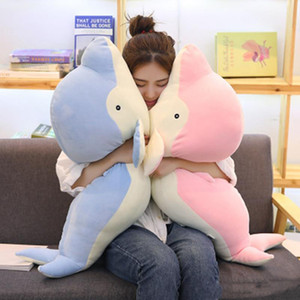 Wholesale Kawaii Fluffy Soft Cartoon Dolphin Plush Toy Big Stuffed Animal Whales Doll Pillow for Children Gift inch cm